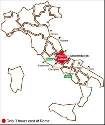 Abruzzo in the Italy map
